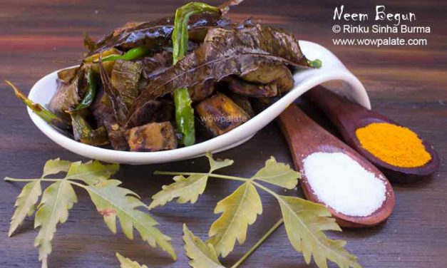 Neem Begun Recipe | Neem Pata Begun Bhaja | Eggplant and Neem Leaves